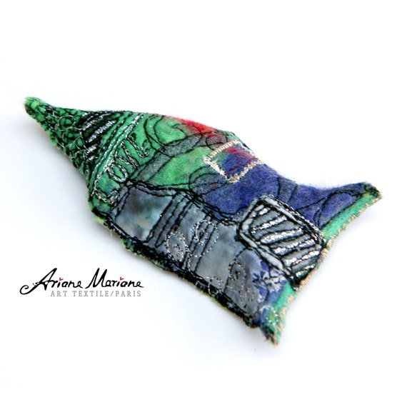 Fancy Mini Art House Pin  - Miniature House  Green Purple Gray - Original Felt Art Embroidery Slow Designed France, Paris
