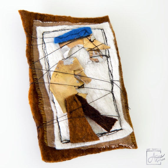 Mixed media brooch with abstract figure felt and metal / Wearable Art Textile Pin Accessories made in Paris / Sustainable mini art textile