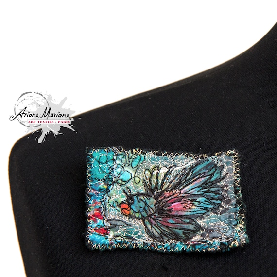 Textile Brooch Fish Animal Art - Multicolored Art Pin - Made in Paris