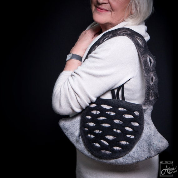 Woman felt bag in sculptural form with a rabbat in relief surface design // Ecofriendly piece unique handbag made with love  Ariane Mariane