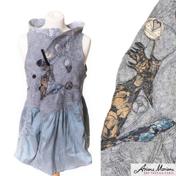 Wearable art merino wool women vest - Paris designer garment piece unique  - reversible - convertible into bolero - ecofriendly - warm cozy