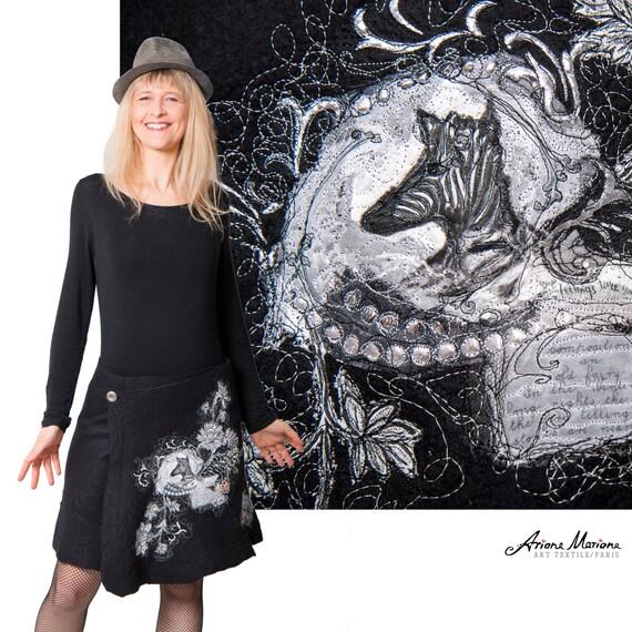 Stunning Wearable Art Skirt Black White, Animal Textile art, Reversible Convertible Art Garment, Silk Merino Wool Hand Felt, Designer Paris