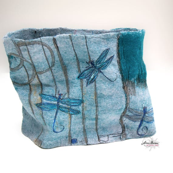 Wearable art Dragonfly cowl -  Softest merino wool felt - Painted & printed neck accessory - Awesome embroidery reversible Artist Snood