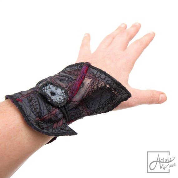 Felt Art Bracelet elastic closure. Textile art organza nuno felted arm warmer. Embroidery cuff jewelry. All sizes wearable art accessories.