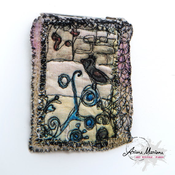 Cute Collectible Textile Art Pin - Bird Art Brooch - Customisation
