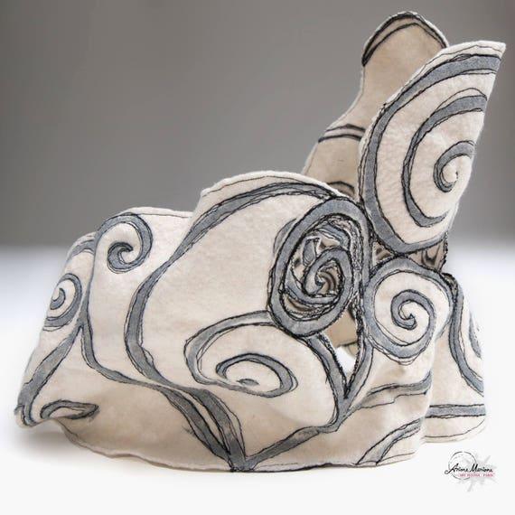 Stunning Cowl Designer Statement Infinity Scarf White Gray Spirals