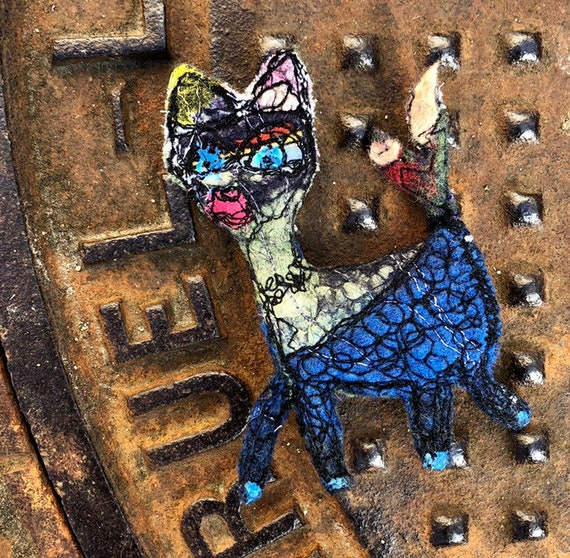 Textile art brooch  funky critter / blue nuno felt dog,art to pin, perfect for customization, awesome gift idea