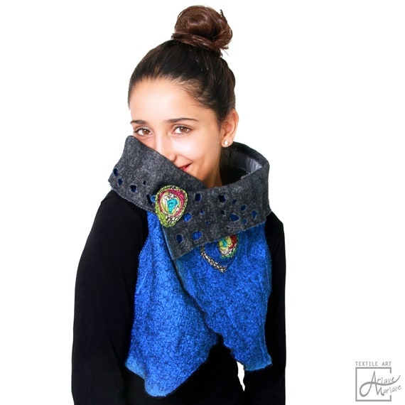Outstanding Wearable Art Vest - Felted Merino Wool Woman Vest - Cobalt blue nuno felt Paris Design - Reversible Women Vest / Bolero