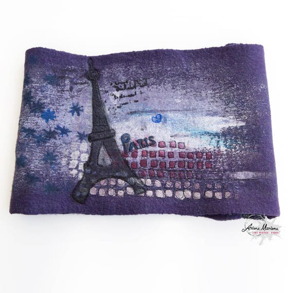Purple Art Cowl with Eifel Tower - Paris Design Reversible Designer Infinity Scarf