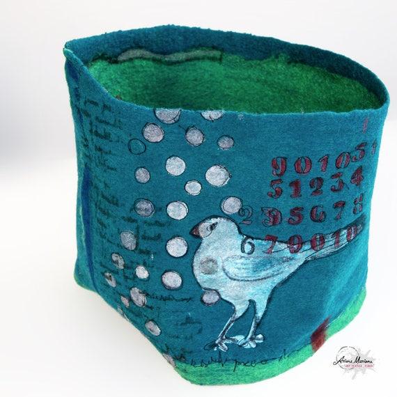Artist Woman Infinity Scarf - Hand painted Embroidery Felt Cowl - Bird Pattern Green Petrol Blue Snood - Paris Made Fiber Art Accessoires