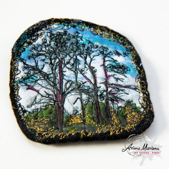 Black Forest Textile Art Pin - awesome Closing System for Vests and Cardigans