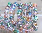 6 0 Czech Celestial Mix 10-Inch Strand Multi Tone Green Rose AB Metallic Glass Seed Beads