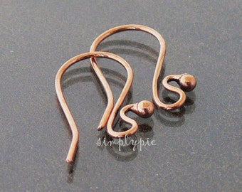 """1/""""  KIDNEY EAR WIRE   MADE IN USA GENUINE SOLID COPPER  18 PCS"""