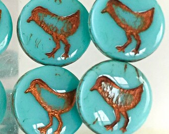 Coin Bird Turquoise Bronze Wash Czech Beads 10 Pcs Glass Beads 12mm Blue Birds