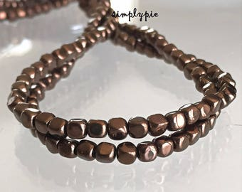Dark Bronze Cube, Czech Glass Beads, 50 Pcs Metallic Beads