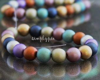 Suede Mix, Czech Glass Beads 8mm Druk 20 Round Assorted Beads