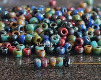7/0 Matubo Mixed Opaque Picasso Beads 10-Grams Glass Seed Red Blue Yellow Jet Turquoise