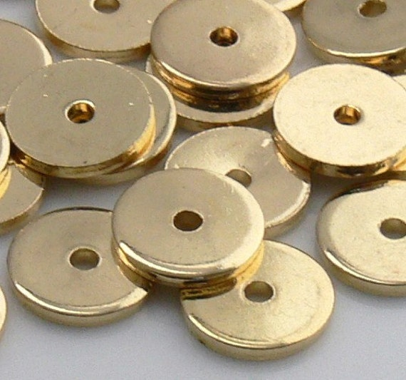 20 Gold OR Silver Plated Brass 8x1mm BRUSHED Heishi Disc Spacer Beads