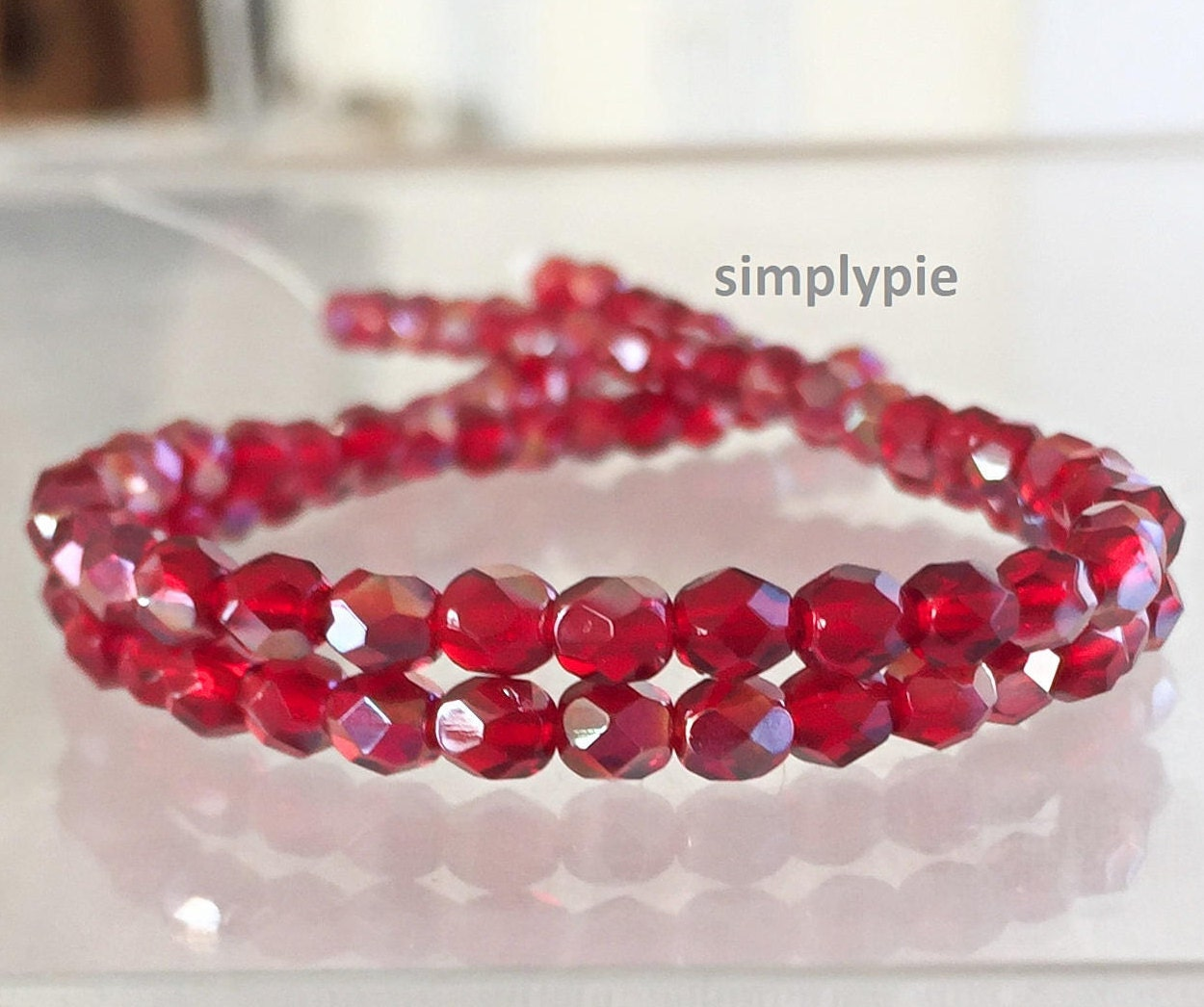 Red Ruby Beads: Ruby Red Celsian Czech Beads Fire Polished 4mm 50 Faceted