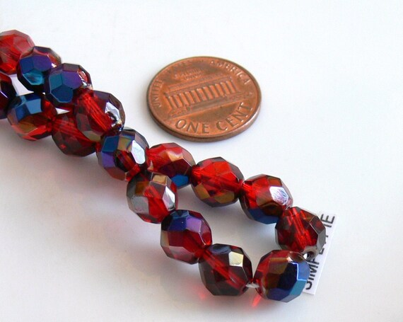 25 8mm Round Faceted Czech Glass Fire Polish Beads Ruby Red Azuro