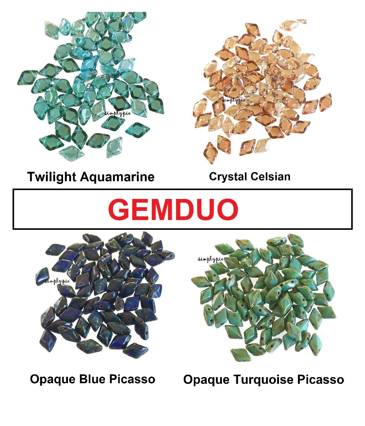 Apollo Gold 40 8 x 5 mm Czech Glass Gemduo Beads