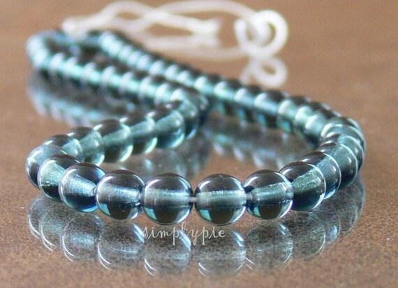 Rosaline Moon Dust Czech Round Glass Beads 6mm Druk 25