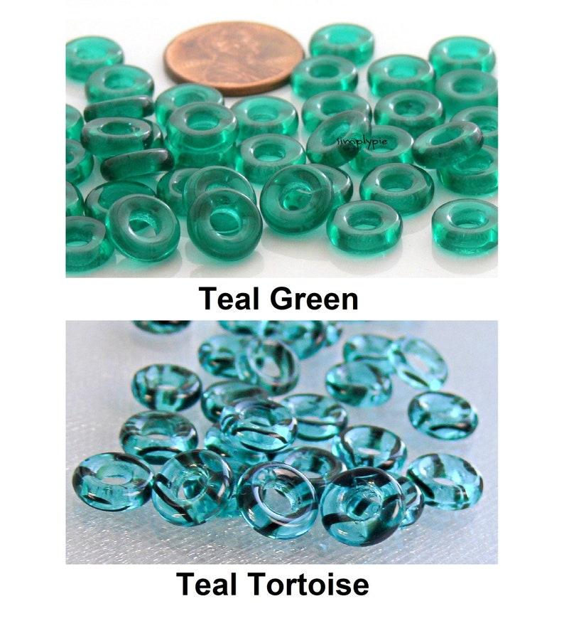 9mm Donut Ring Czech Glass Beads 25 UR PICK Matte Gold Silver Teal Tortoise Crystal AB Cobalt White Red Iris Blue Brown Purple Jonquil