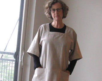 Japanese Kappogi Apron Smock, Made To Order, Charcoal, Oatmeal, Indigo, or Steel, Homespun Cotton, Two Sleeve Lengths, S, M, L, 1X, 2X, 3X