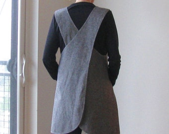 Crossback Apron in Linen Heather Blend, Made to Order, S, M, L, 1X 2X 3X, Charcoal, Olive, Brick, Oatmeal, Indigo, Steel, Apron Dress