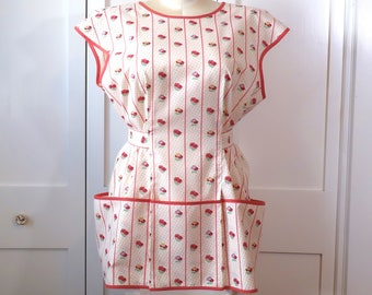 Cobbler Smock Apron, Newly Made in 1950s Style with Vintage Fabric, Size M