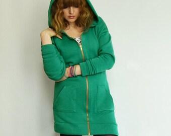 Green hoodie dress Jade green hoody Batwing hoody Zip hoody Hooded dress Zip hoody dress Longline hoody Green hoodie Hoody jacket