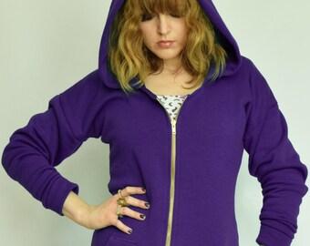 Purple hoodie dress Batwing hoody Purple hoodie Zip hoody Hooded dress Longline hoody Purple hoodie Hoody jacket Purple hooded dress