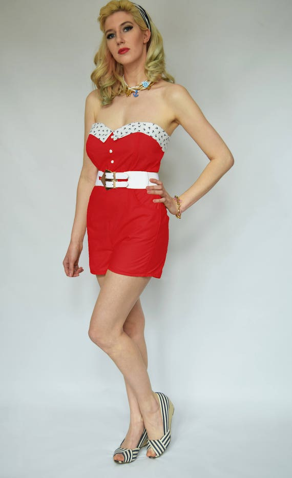 39a89507128 Red pin up playsuit Anchor playsuit Nautical red 40s playsuit