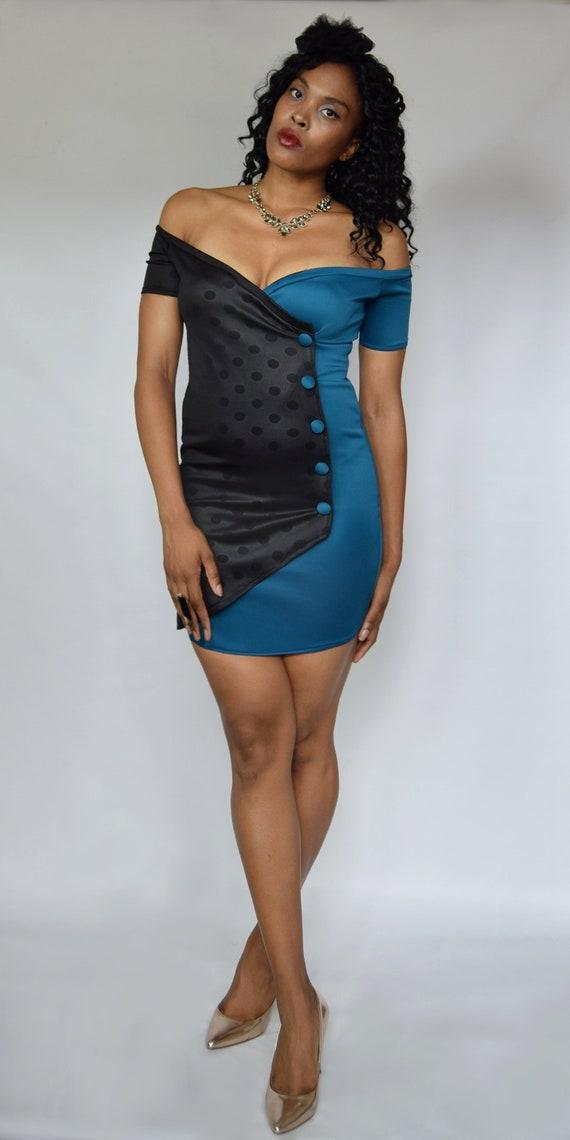 1455db9c5d Black teal dress Polka dot dress Stretch bodycon Bardot dress
