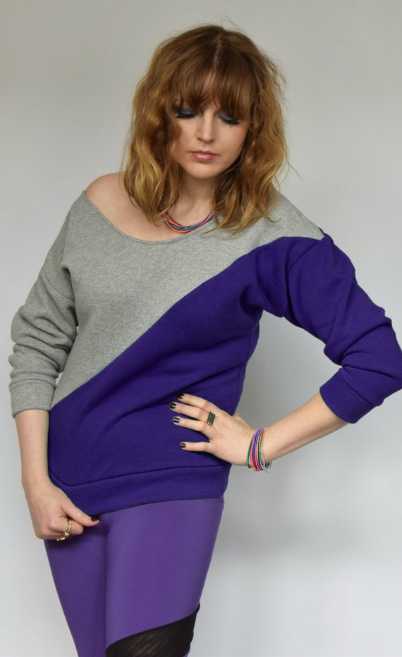 eb2f487c6285 Purple batwing sweater Off shoulder sweater Purple sweater
