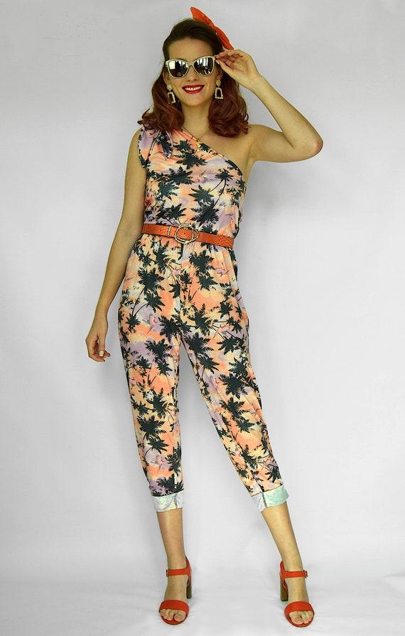 hot-selling genuine buy popular shop for Palm tree jumpsuit Tropical jumpsuit One shoulder romper Hawaiian playsuit  Capri jumpsuit Palm tree print