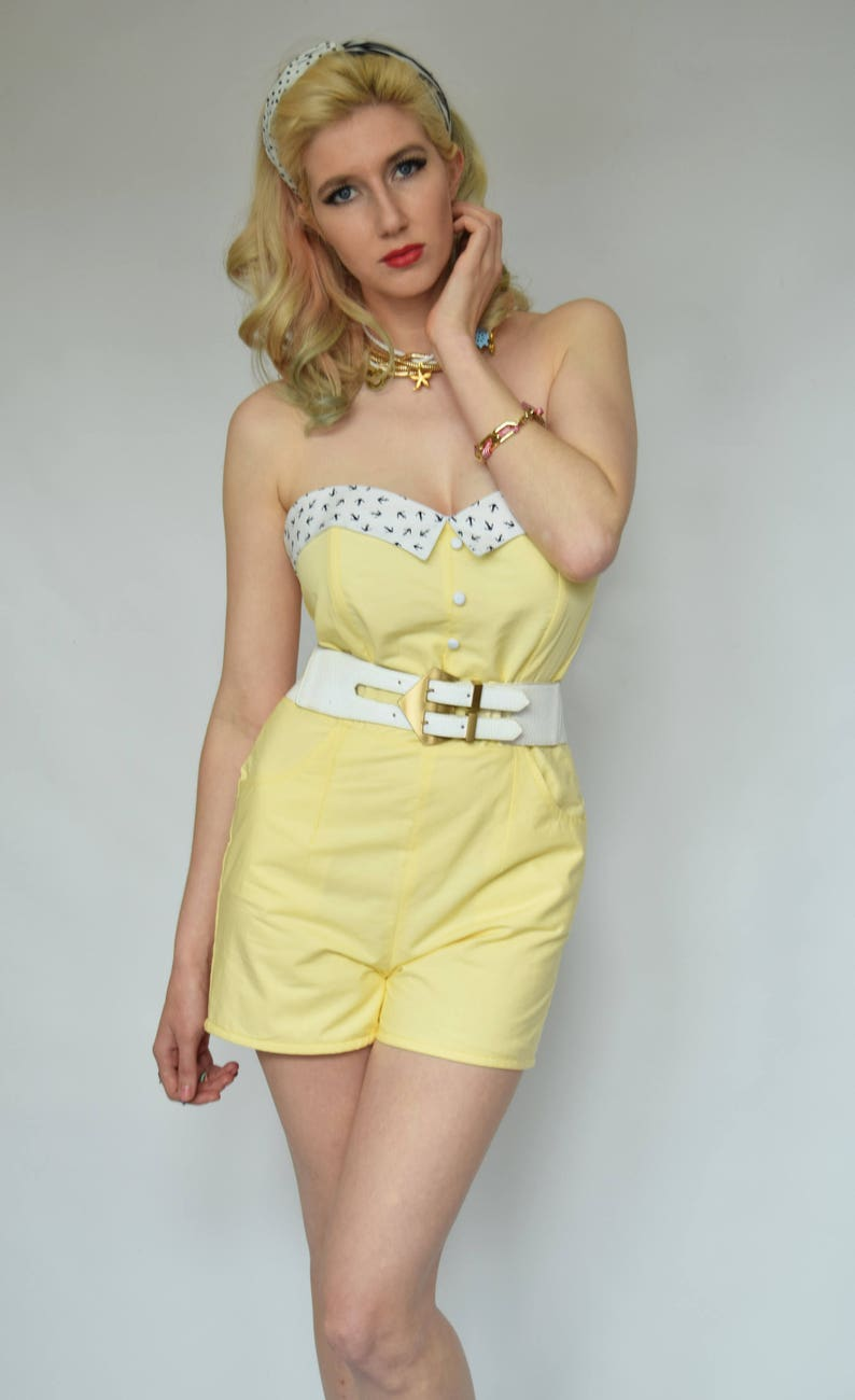 61cb8879bc6 Yellow playsuit Pin up playsuit Anchor Nautical 40s playsuit