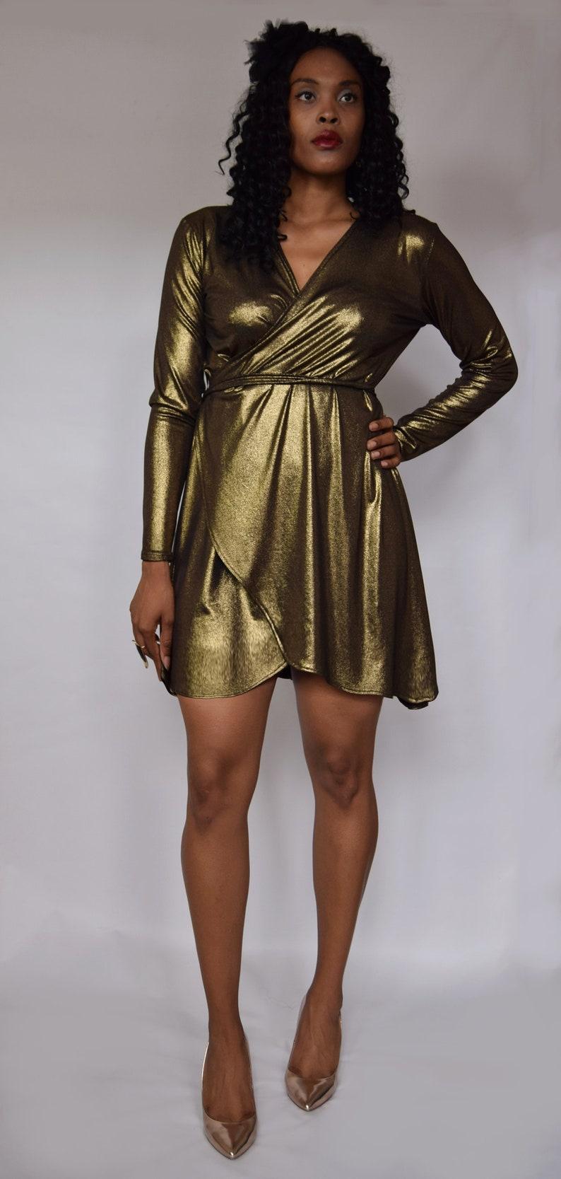 2a05b9aac6a Gold wrap dress Black gold dress Gold foil dress Gold
