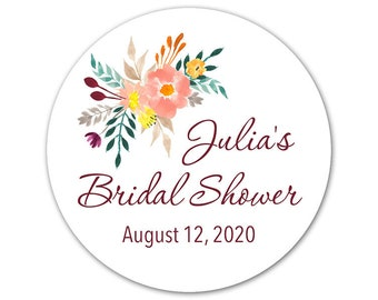 custom bridal shower labels personalized stickers bridal shower labels floral stickers labels for favors