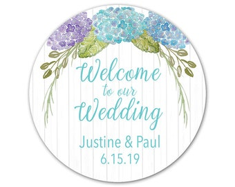 Personalized Wedding Stickers - Custom Labels - Rustic Stickers - Hydrangea Flowers - Favor Stickers - Welcome to our Wedding