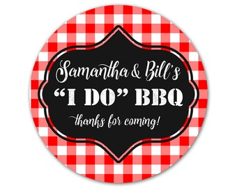 Personalized Party Stickers - I Do BBQ Labels - Gingham Stickers - Engagement Party Labels - Wedding Stickers - Custom Labels
