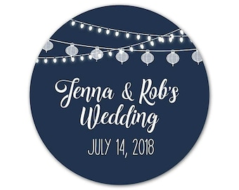 Personalized Wedding Stickers - Custom Favor Labels - Wedding Stickers - Outdoor Wedding Stickers - Custom Labels - Wedding Lights Labels
