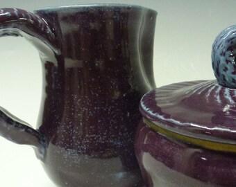 Handmade Ceramic Cream and Sugar Bowl,  free shipping ,Grape purple, by Ruth Sachs