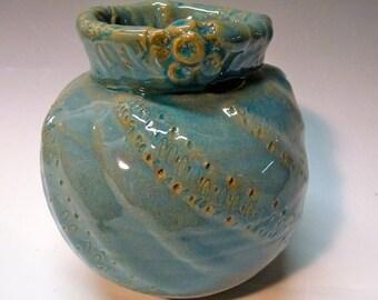 Handmade Ceramic Vase , Light Blue Altered Vase with Textured Lip for your flower arrangements.