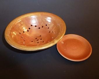 Handmade Ceramic Berry Bowl with Drip-Plate Shino Glaze gas fired