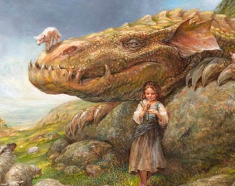 The Shepherdess (print) - dragon sheep girl fantasy art landscape