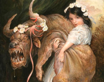 Little Darlings (print) beauty and beast, monsters, ugly cute, puppies, little girl, children, funny, artwork, home decor