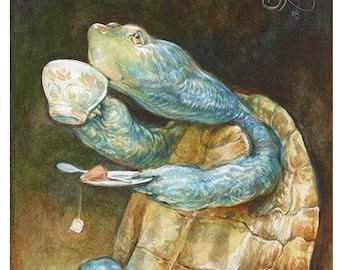 Savoring the Sip (5x7 mini print) turtle art, tea time, relax, tortoise, animal artwork, illustration