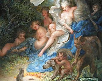 The Offering (print) - cat, fairy, goddess Diana, hunter, fantasy art