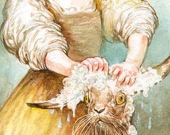 Washing Her Hare (print)- rabbit, bath, hair care, pets, puns